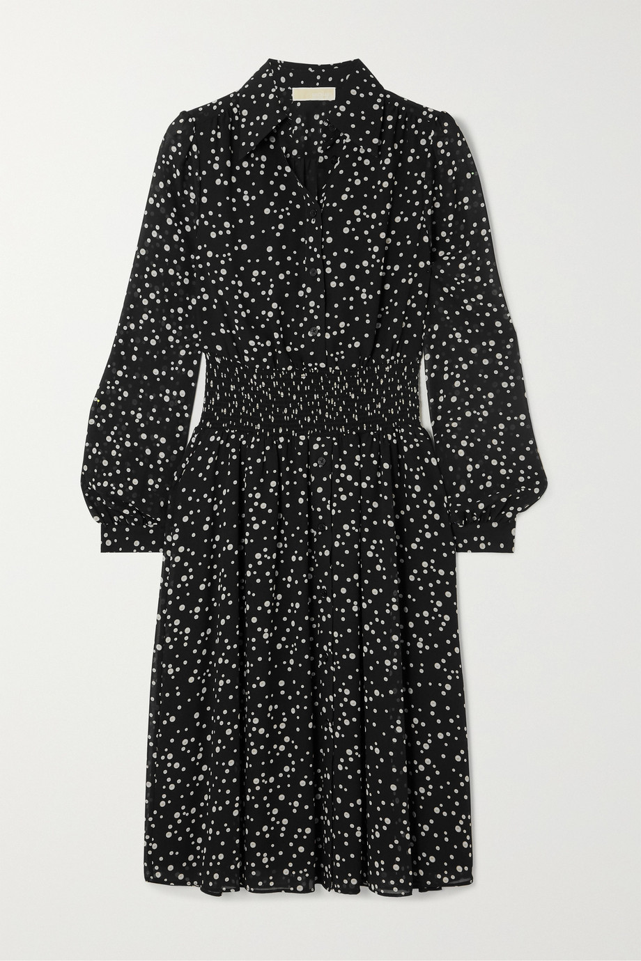 MICHAEL Michael Kors Shirred polka-dot georgette dress