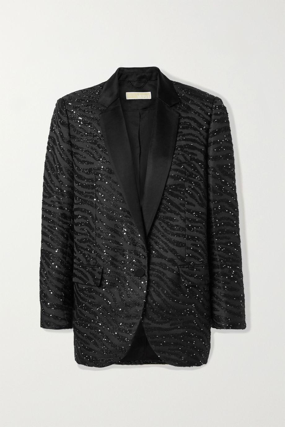 MICHAEL Michael Kors Satin-trimmed sequin-embellished zebra-jacquard blazer