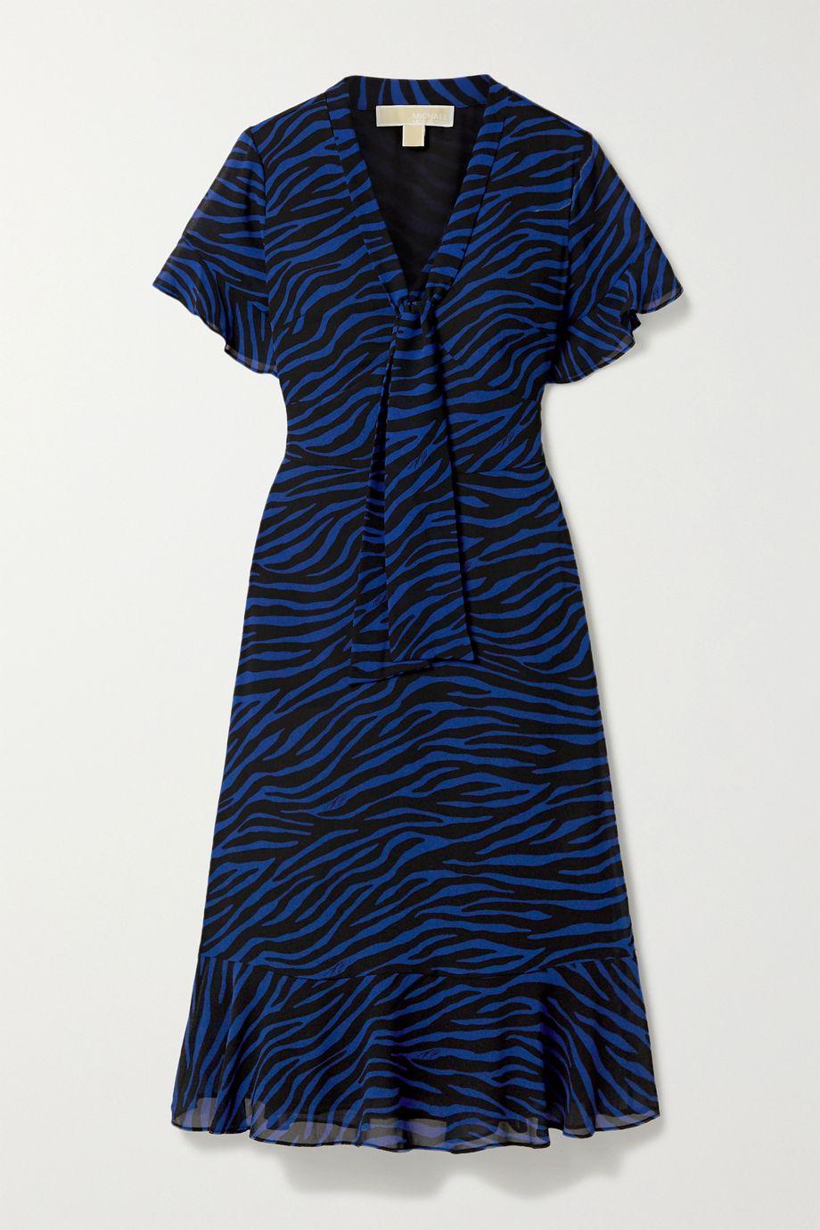 마이클 마이클 코어스 러플 미디 원피스 Michael Michael Kors Pussy-bow ruffled zebra-print georgette midi dress,Royal blue