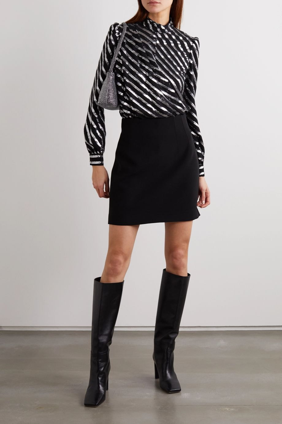 MICHAEL Michael Kors Wrap-effect metallic striped silk-blend blouse