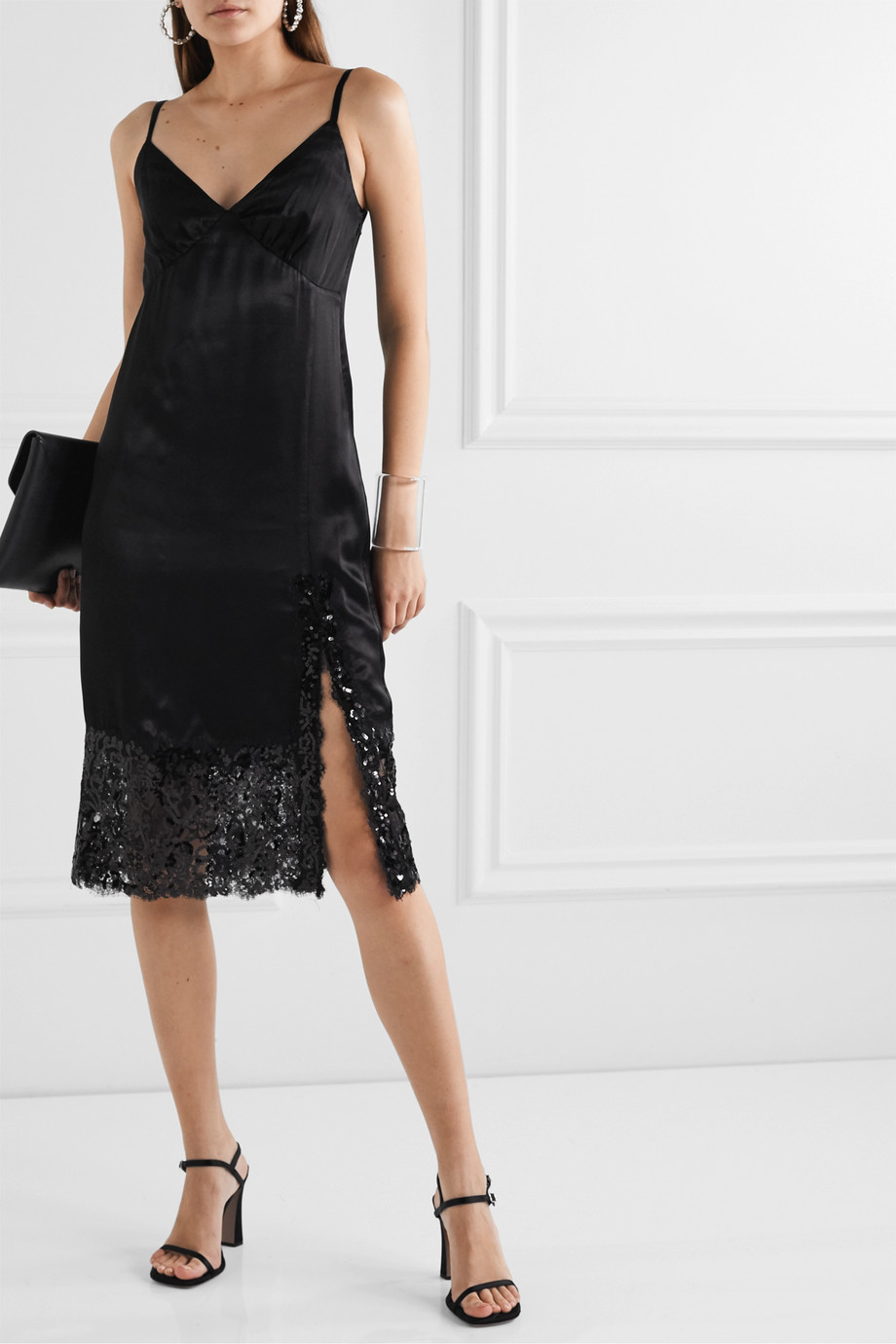 MICHAEL Michael Kors Sateen and sequined lace midi dress