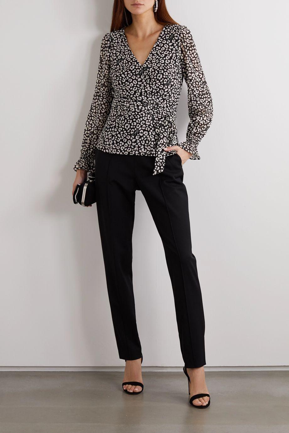 MICHAEL Michael Kors Leopard-print crepe de chine wrap top