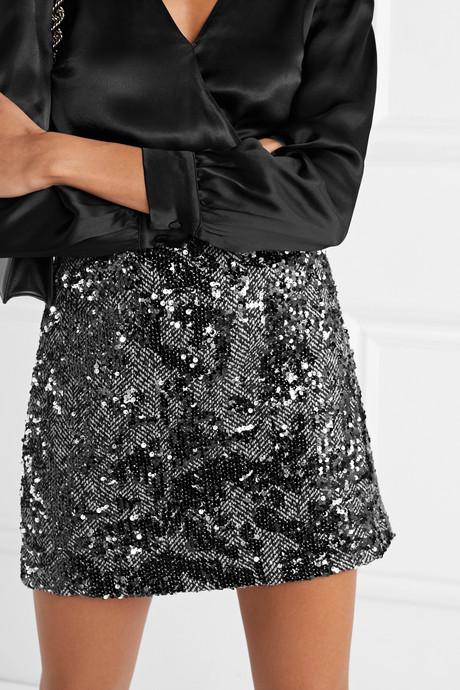 Sequined herringbone tweed mini skirt
