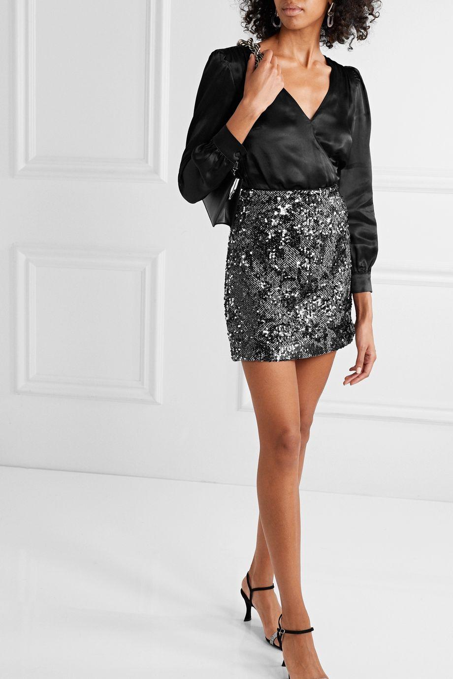 MICHAEL Michael Kors Sequined herringbone tweed mini skirt