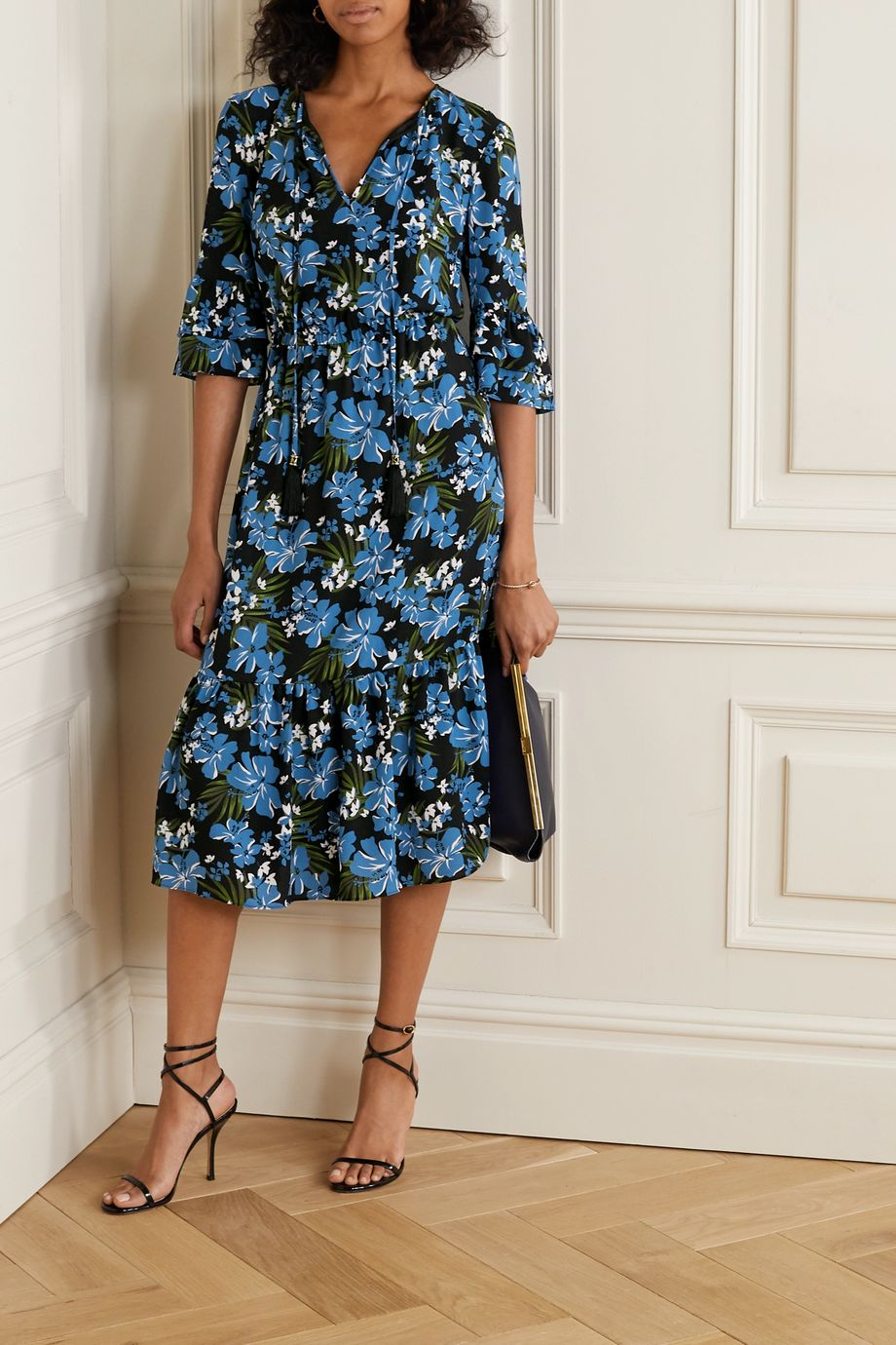 MICHAEL Michael Kors Floral-print crepe midi dress
