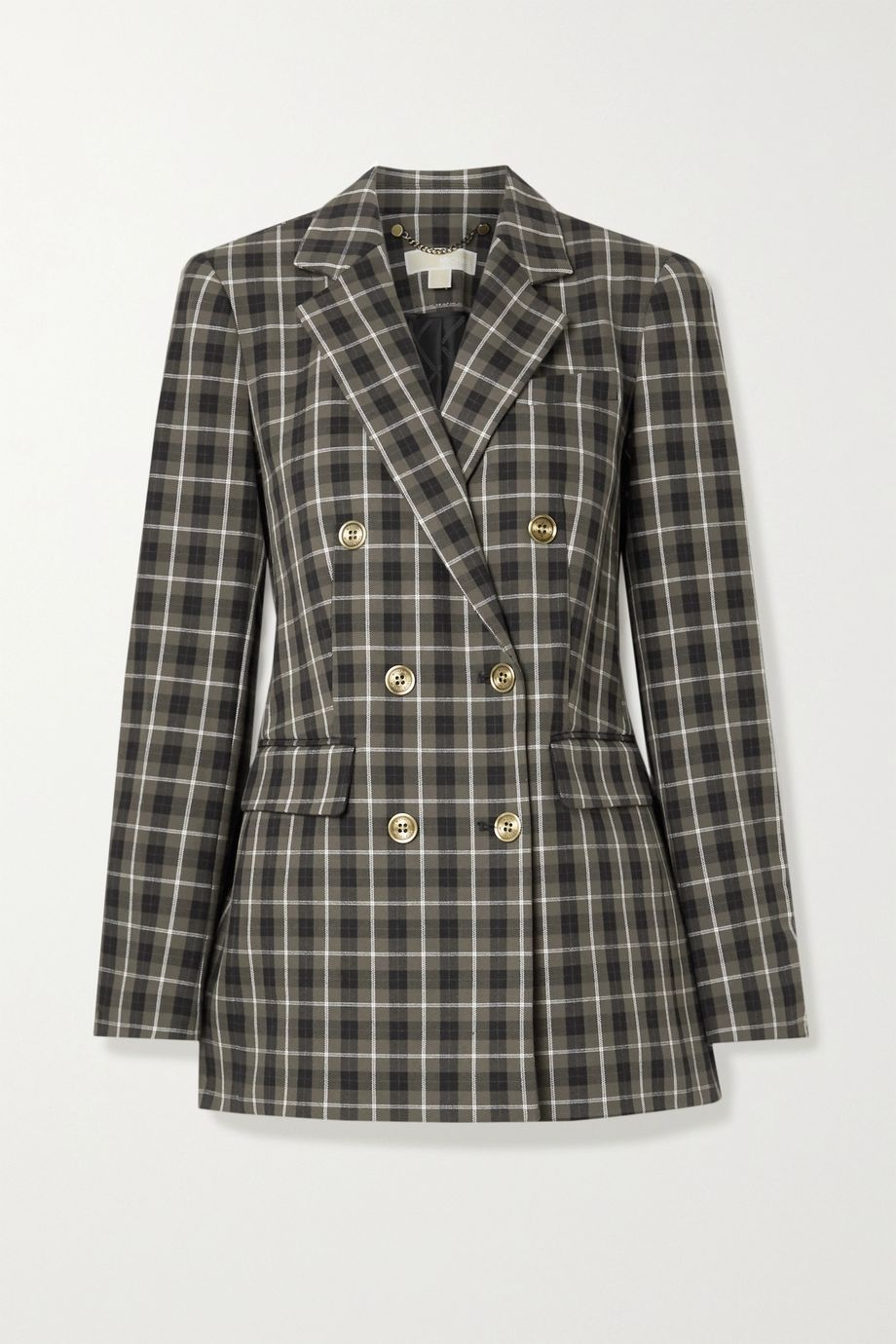 MICHAEL Michael Kors Double-breasted checked cotton-blend blazer