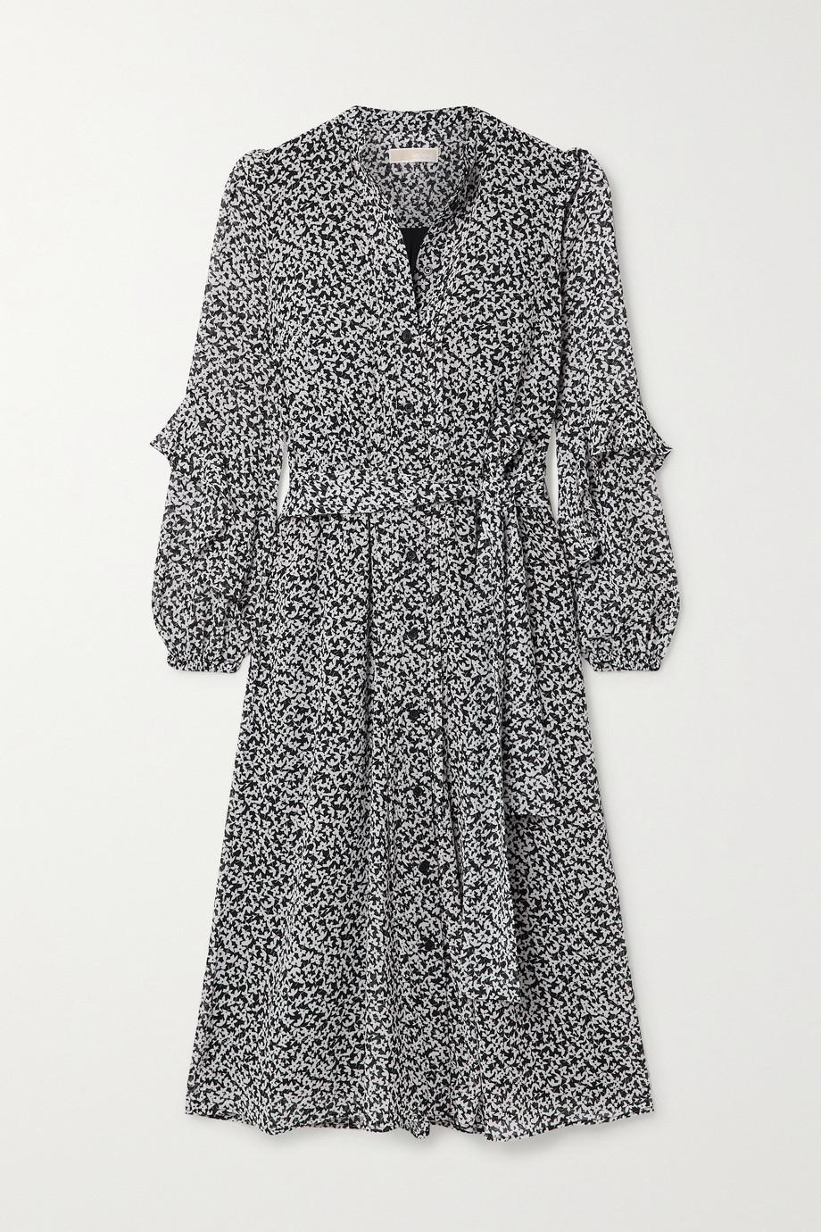 마이클 마이클 코어스 러플 미디 원피스 Michael Michael Kors Lilly belted ruffled printed crepe midi dress,Black