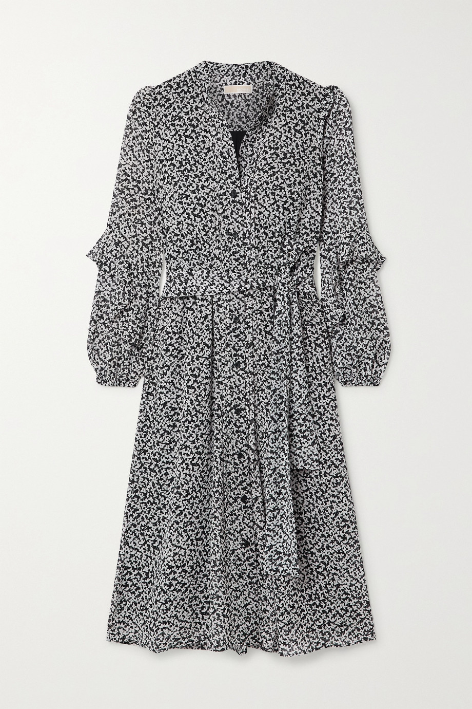MICHAEL Michael Kors Lilly belted ruffled printed crepe midi dress