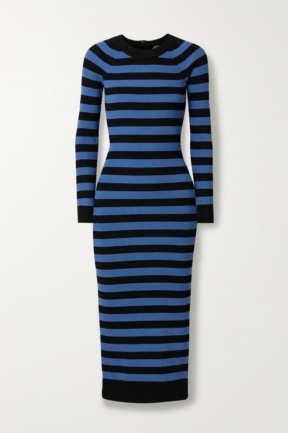 MICHAEL Michael Kors Striped stretch-knit midi dress