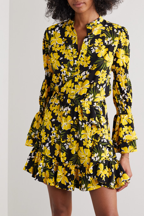 Bold Bliss ruffled floral-print crepe mini skirt