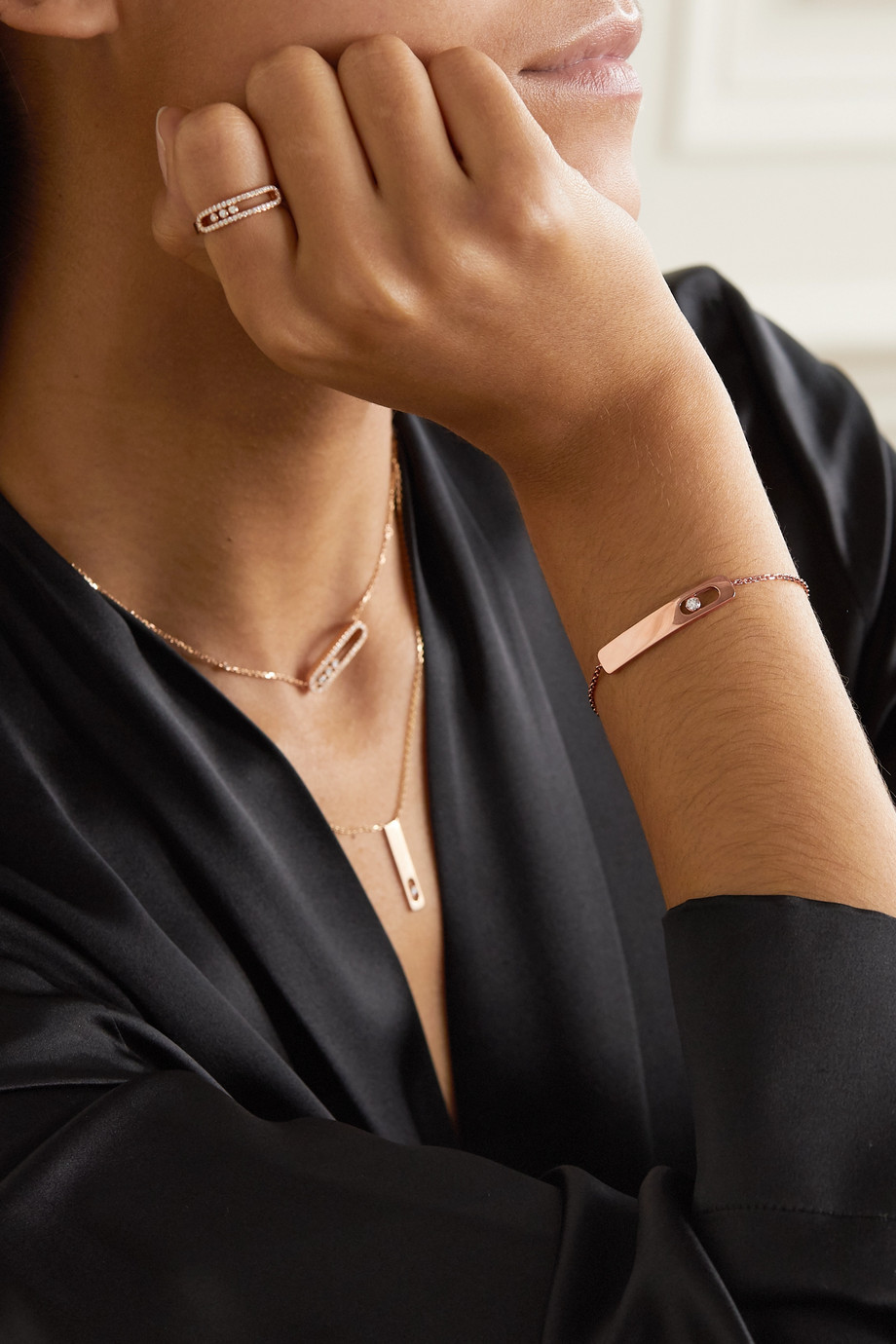 Messika My First Diamond 18-karat rose gold diamond bracelet