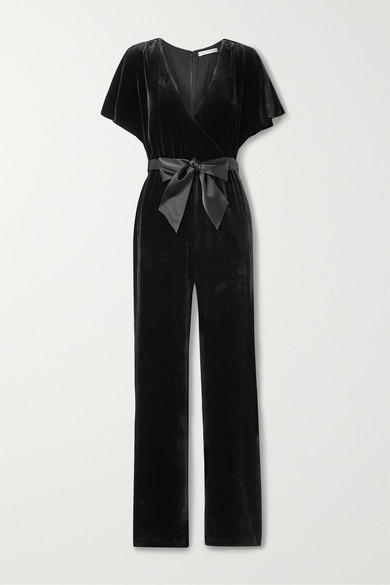 Alice And Olivia Suits Breanna belted wrap-effect velvet jumpsuit