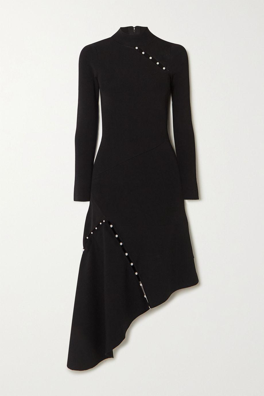 Alice + Olivia Kam asymmetrisches Kleid aus Stretch-Cady mit Kunstperlen