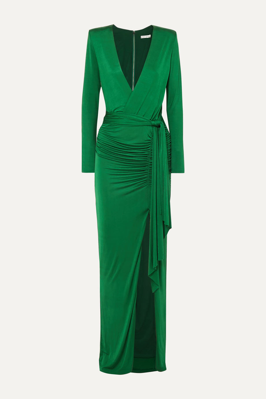 Alice + Olivia Kyra wrap-effect ruched stretch-jersey maxi dress
