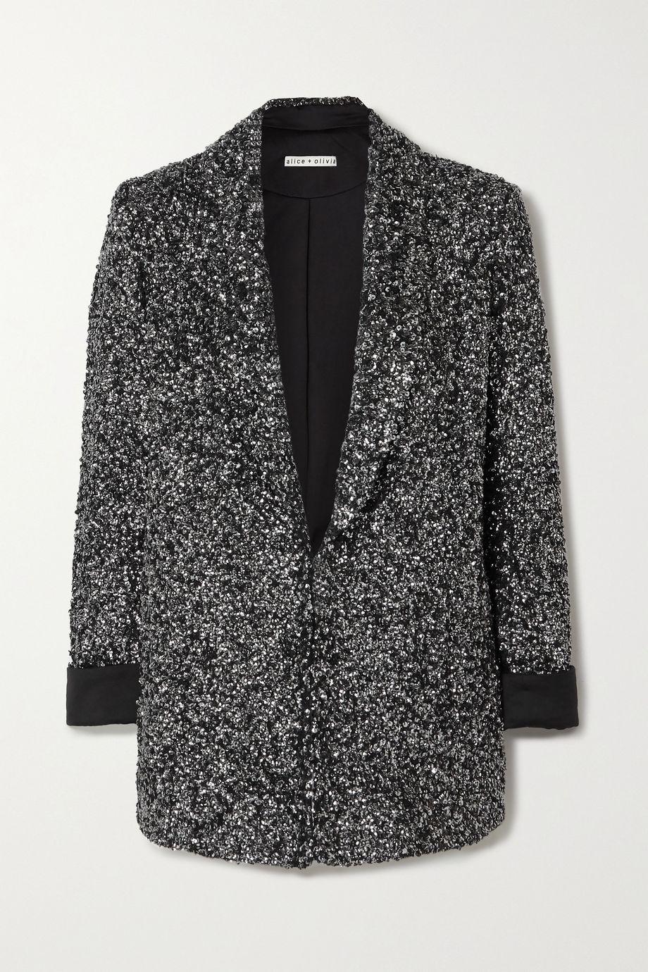 Alice + Olivia Jace sequined silk-satin blazer