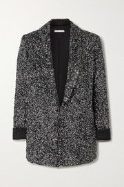 Alice + Olivia Jace sequined silk-satin blazer