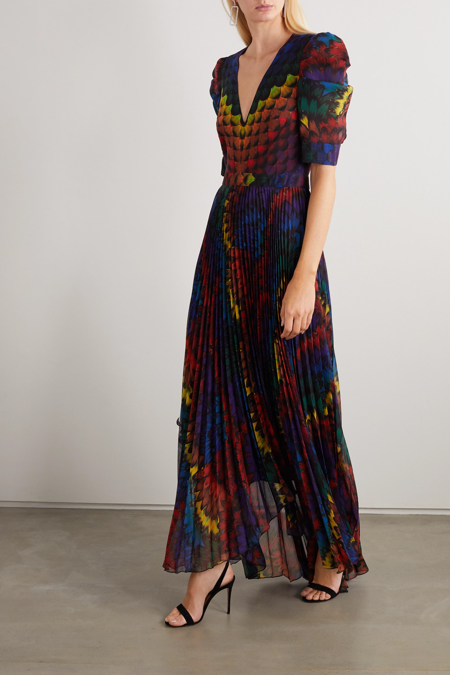 Alice + Olivia Haven pleated printed chiffon maxi dress