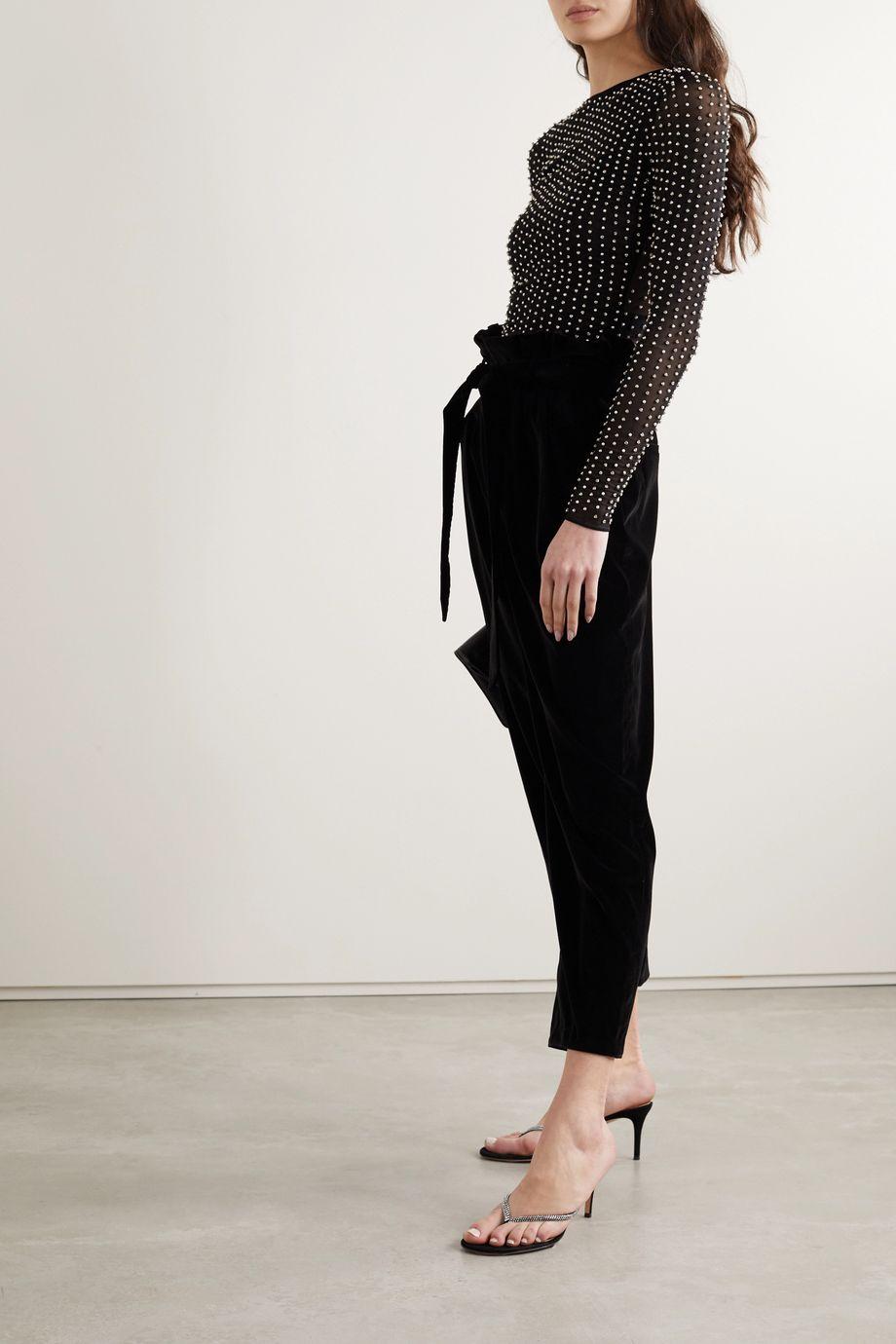 Alice + Olivia Delaina embellished tulle top
