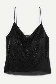 Harmon silk-satin trimmed draped chainmail camisole
