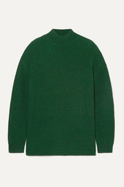 Sarah open-back ribbed silk-blend turtleneck sweater