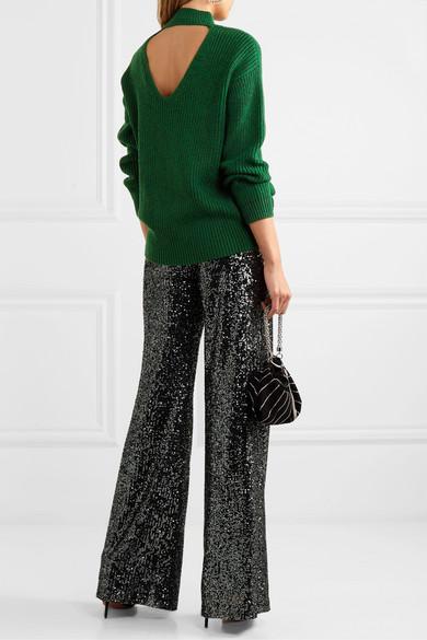 Sarah Open Back Ribbed Silk Blend Turtleneck Sweater by Alice + Olivia