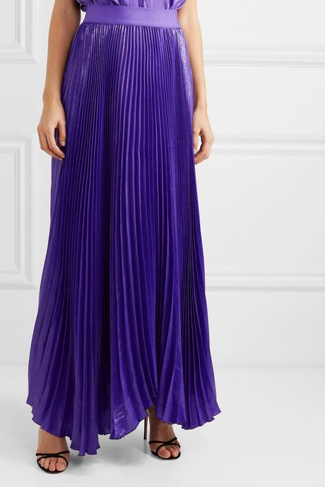 Katz pleated metallic silk-blend maxi skirt