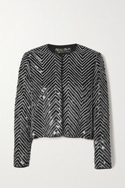 Alice + Olivia Kidman crystal-embellished sequined silk jacket