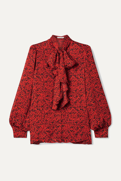 Alice And Olivia Tops Tammy pussy-bow printed crepe blouse