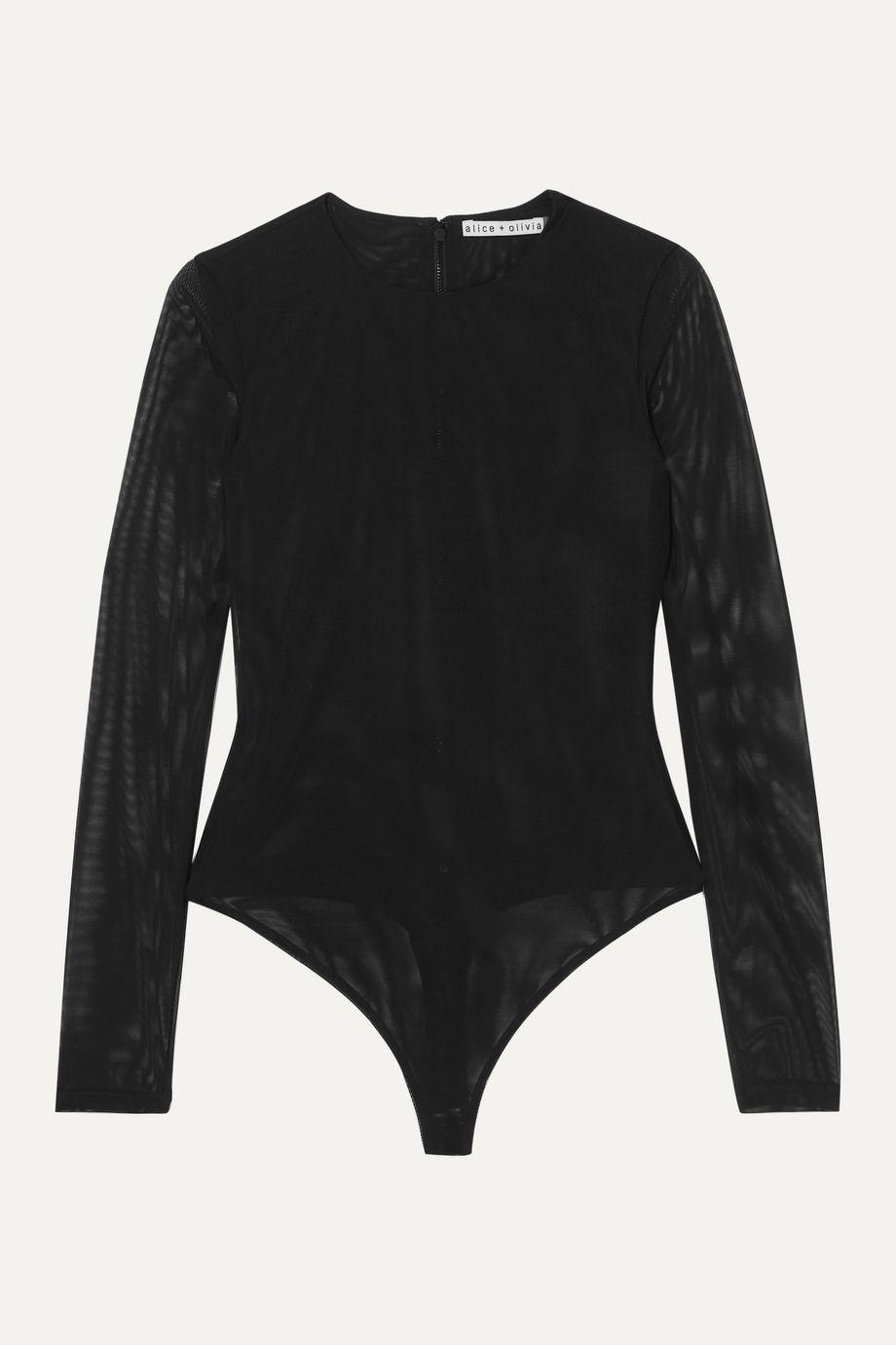 Alice + Olivia Nara stretch-mesh thong bodysuit