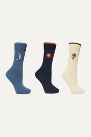 Mexico set of three embroidered cotton-blend socks
