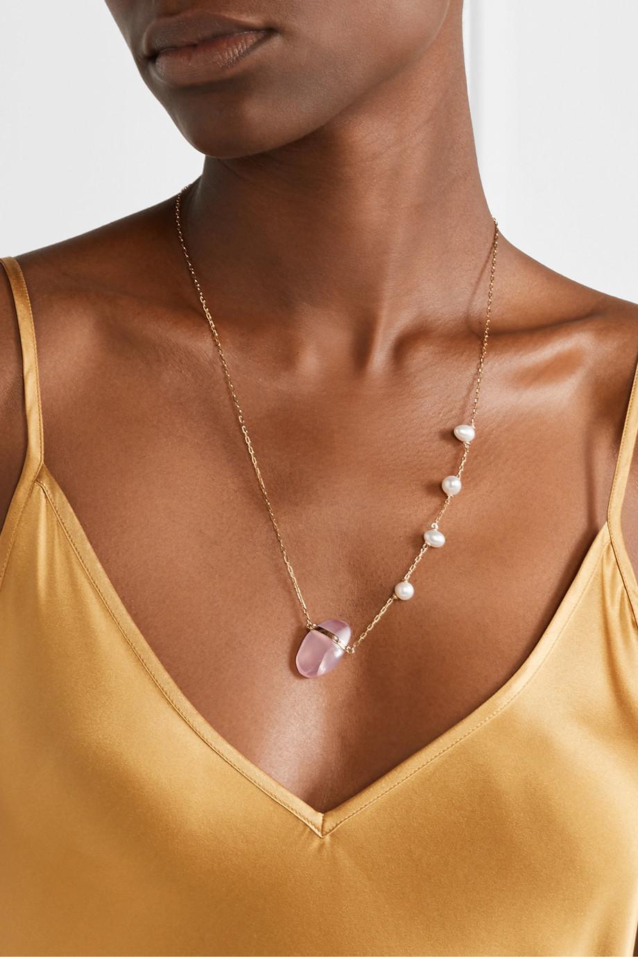 Harris Zhu 14-karat gold, quartz and pearl necklace