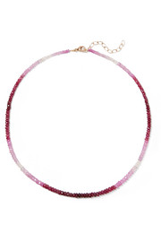 Gold-plated ruby necklace