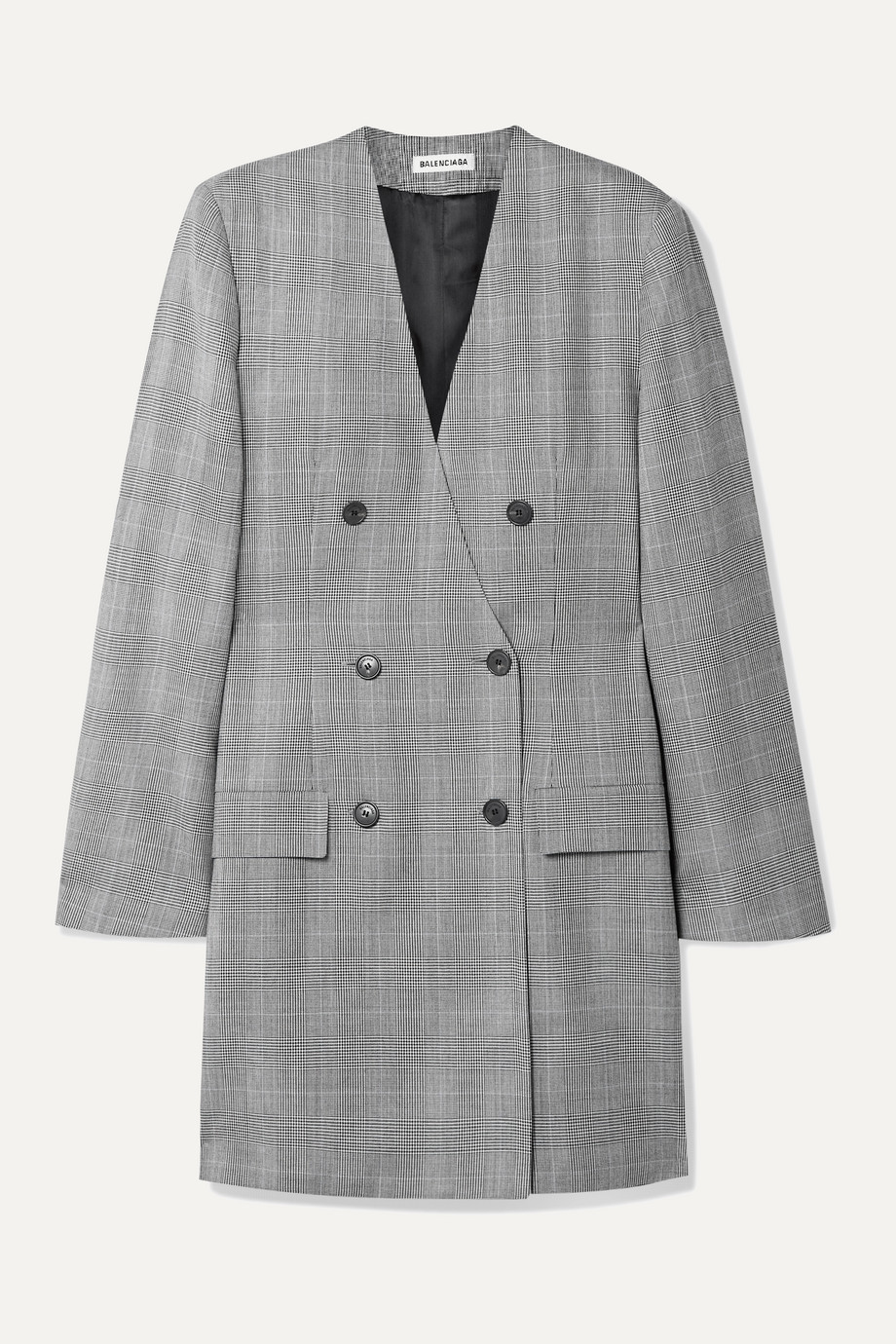 Balenciaga Double-breasted Prince of Wales checked wool  dress
