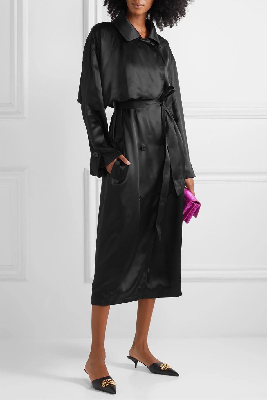Balenciaga Robe midi en satin de soie à ceinture