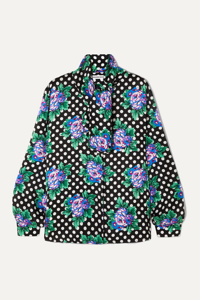 Balenciaga Tops Pussy-bow printed silk-twill blouse