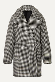 Balenciaga Oversized belted houndstooth wool and cashmere-blend jacket