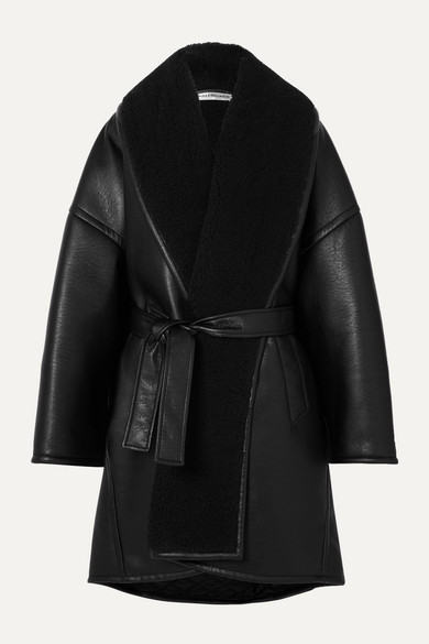 Balenciaga Coats Oversized belted faux shearling-trimmed faux leather coat