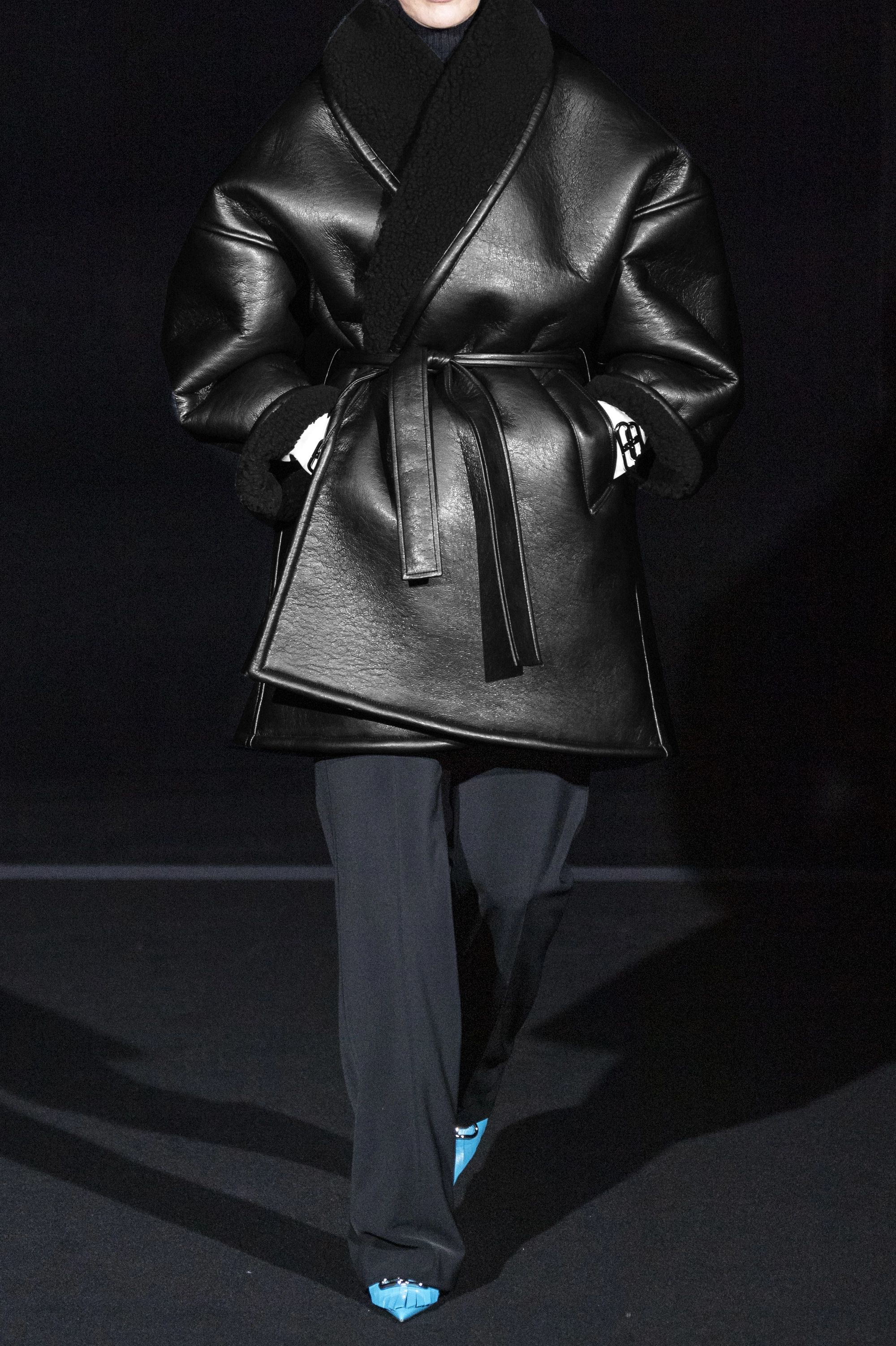 Balenciaga Oversized belted faux shearling-trimmed faux leather coat