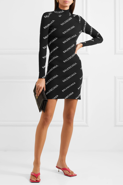 Balenciaga Printed ribbed-knit mini dress