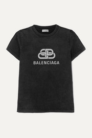 Balenciaga Metallic printed cotton-jersey T-shirt
