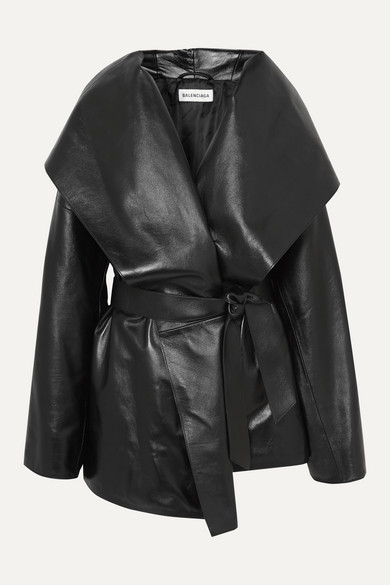 Balenciaga Coats Incognito oversized belted hooded leather coat