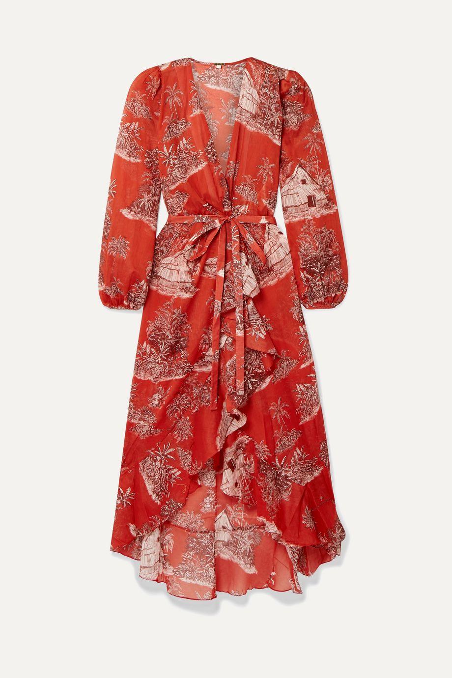 Johanna Ortiz Cuando El Rio Suena printed cotton-voile wrap dress