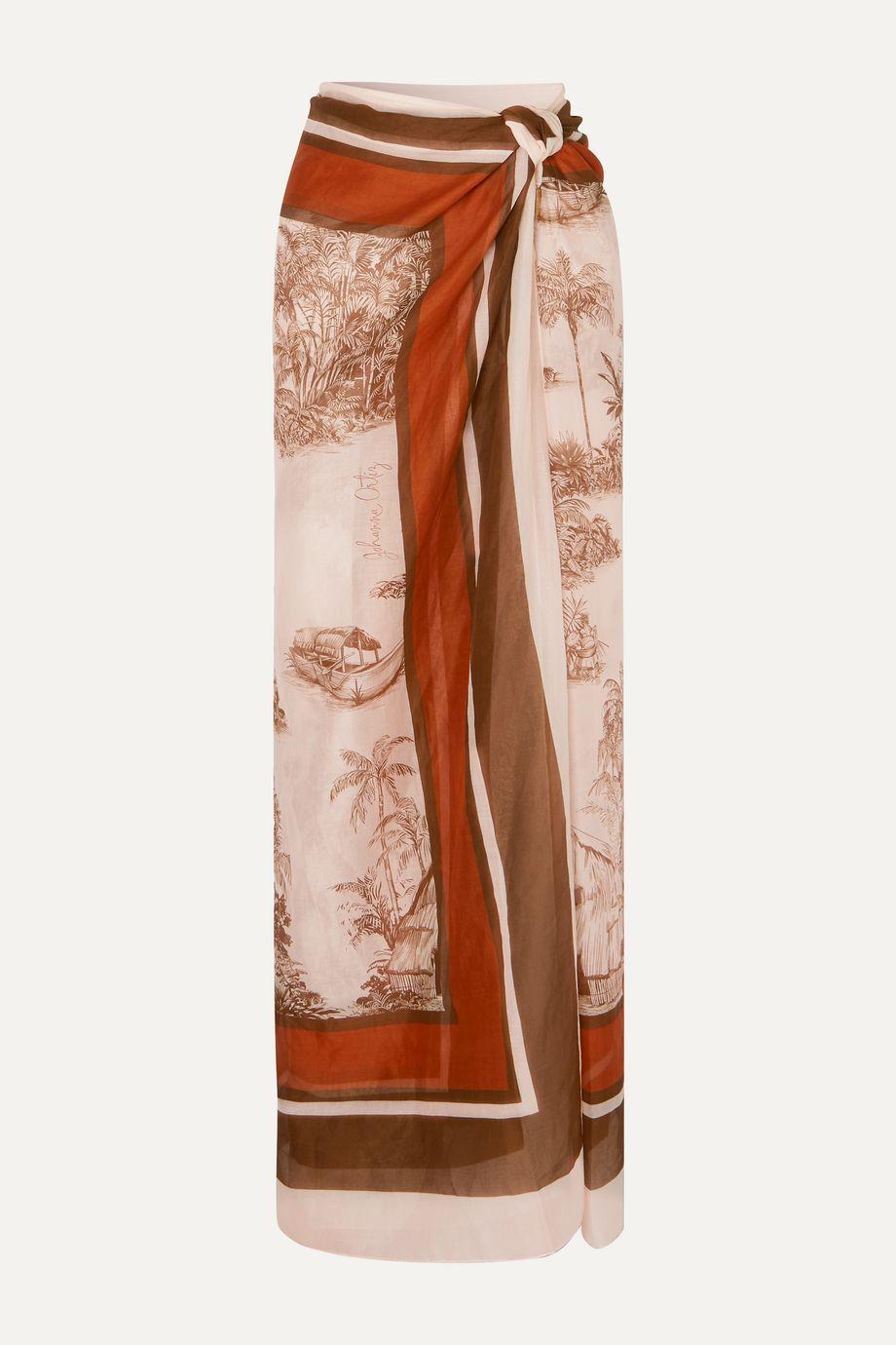 Johanna Ortiz Costa Del Sol printed cashmere and silk-blend pareo
