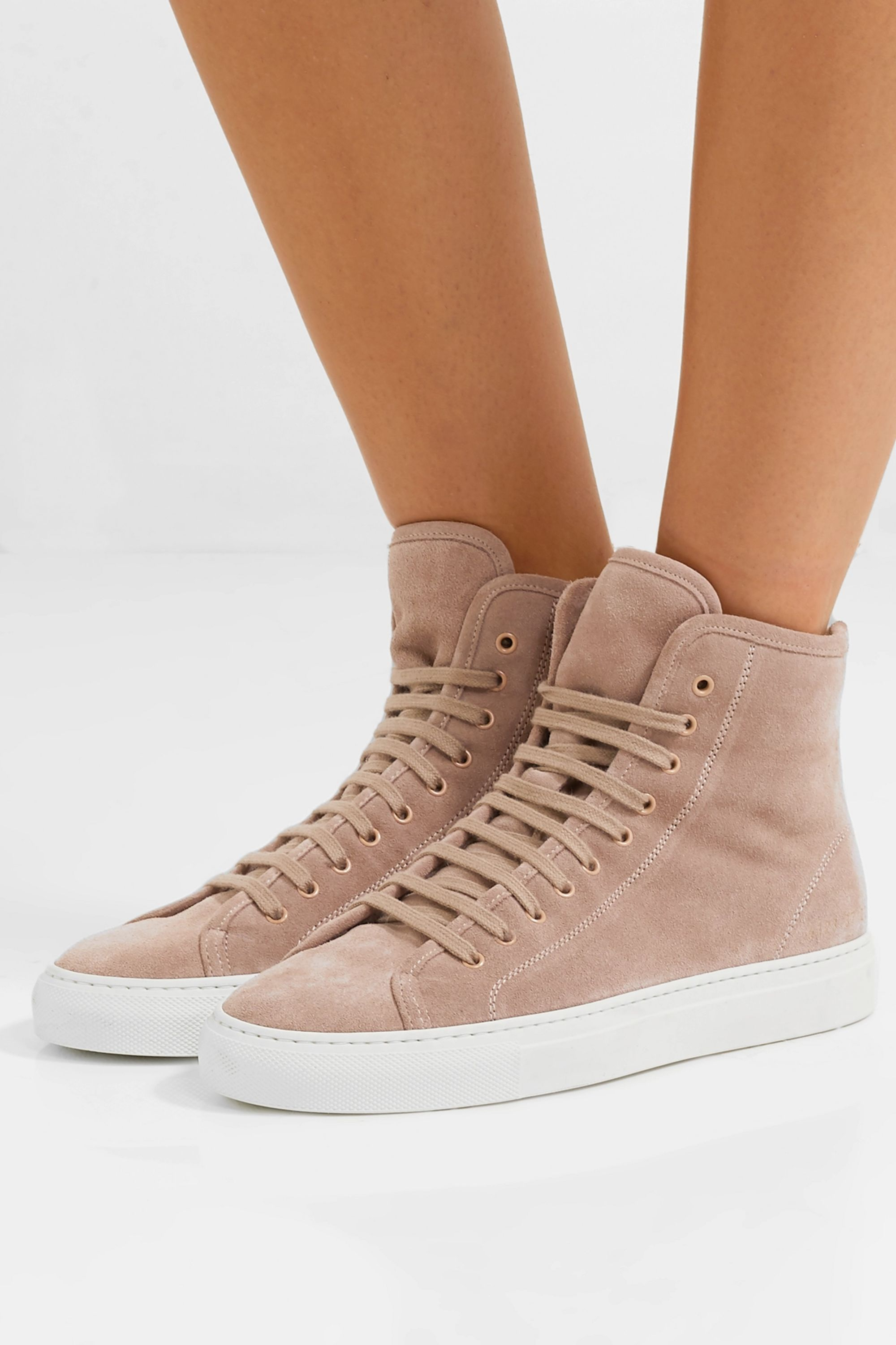 Beige Tournament shearling-lined suede
