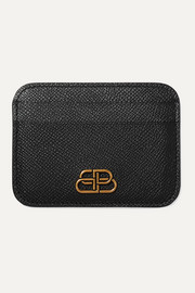 BB textured-leather cardholder