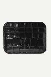 BB glossed croc-effect leather cardholder