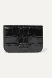 Balenciaga BB mini glossed croc-effect leather wallet