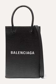 Balenciaga Mini printed textured-leather tote