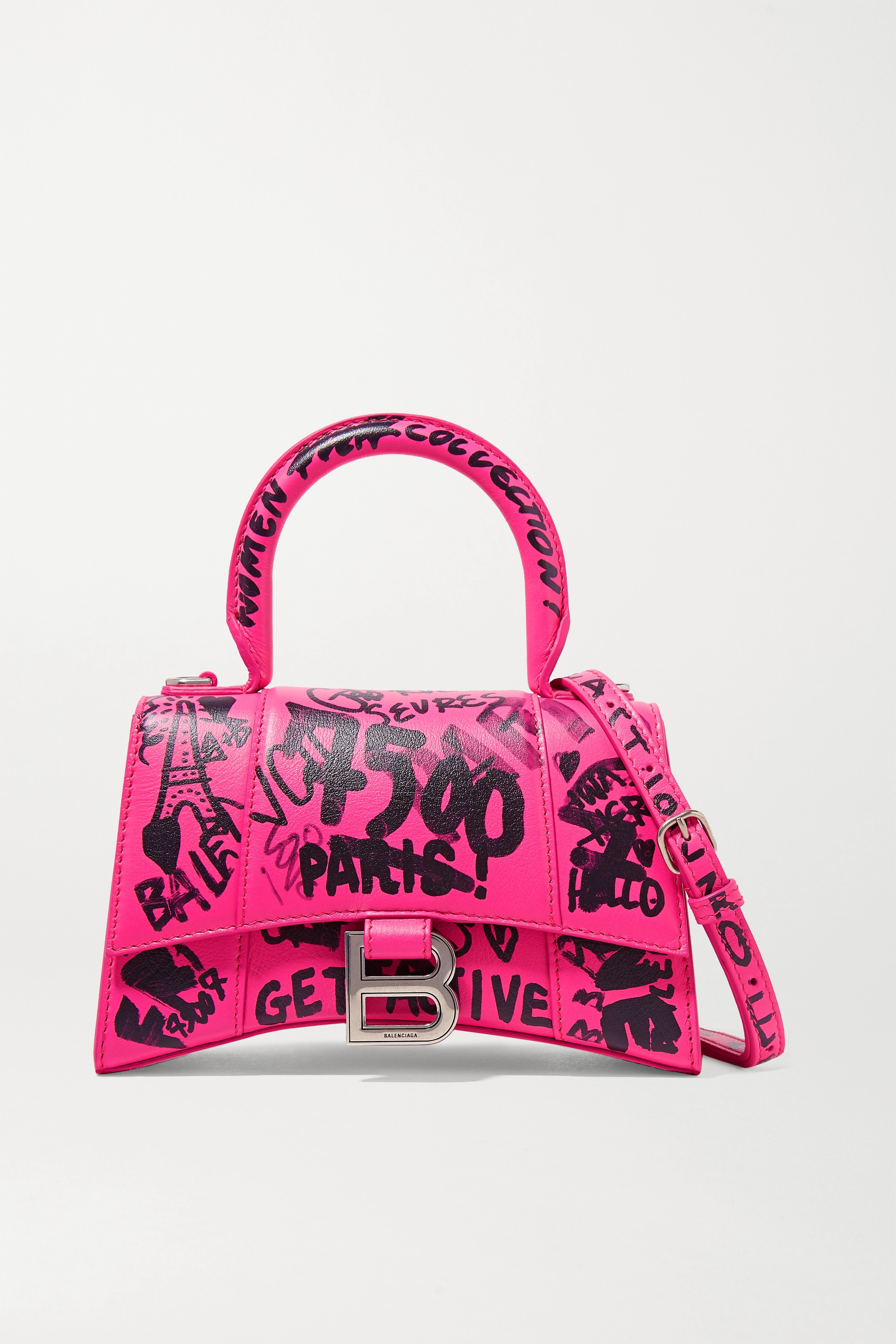 Pink Hourglass XS printed leather