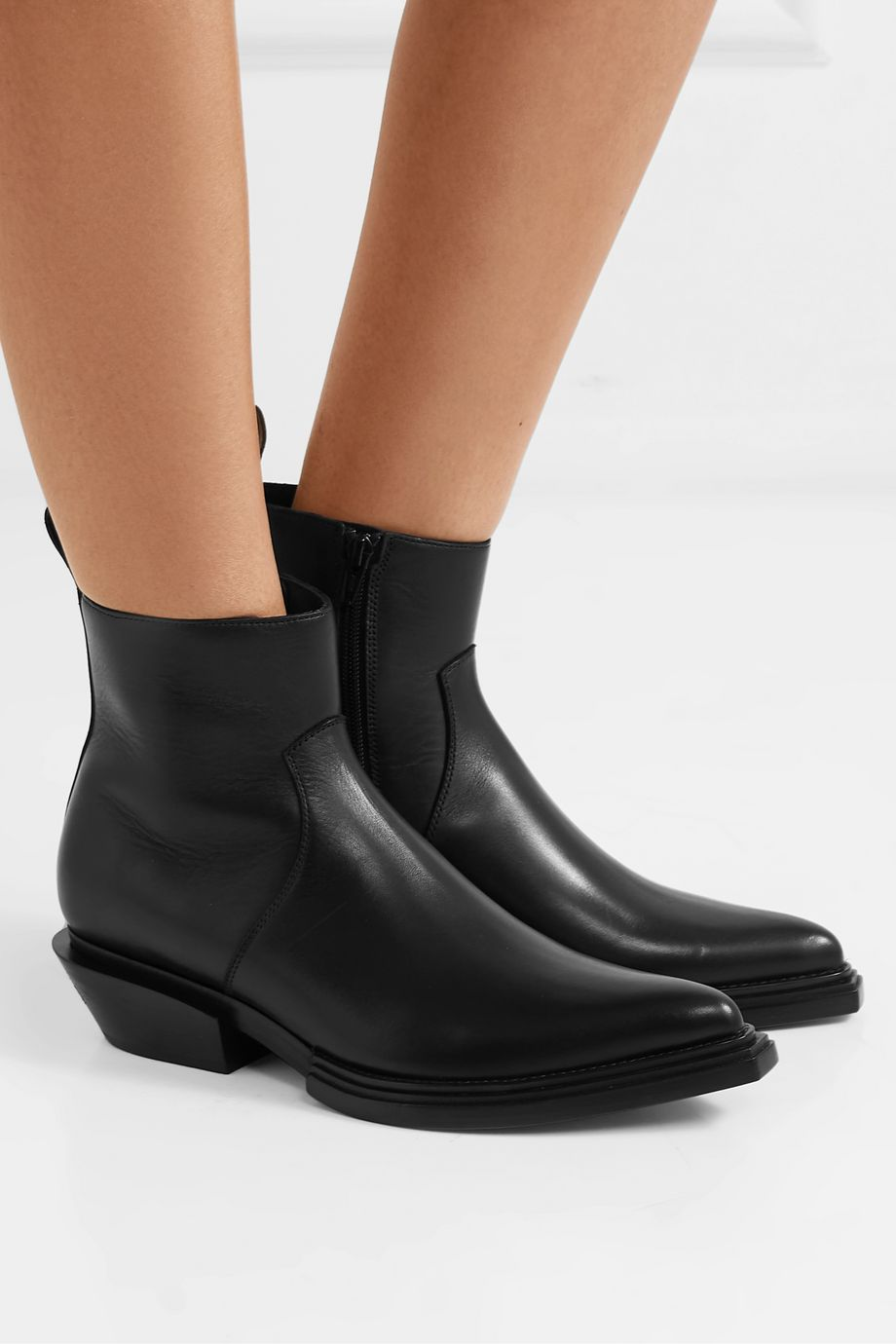 Balenciaga Santiag logo-print leather ankle boots